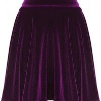 Deep Purple Velvet Skater Skirt - Clothing from Lavish Alice UK