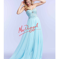 Mac Duggal 51011M Ice Blue Strapless Embellished Bodice Gown 2015 Prom Dresses