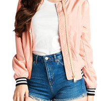 Women Light Weight Bomber Jacket w/ Varsity Stripe Trim