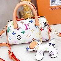 Hipgirls LV Fashion New Multicolor Monogram Print Leather Pillow Shoulder Bag Crossbody Bag White