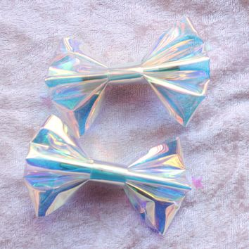 Iridescent Hair Bow/Hair clips/ Set Of 2