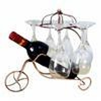 Freestanding Scrollwork Metal  Wine Bottles / 6 Wine Glass Stemware Storage Display Rack Stand