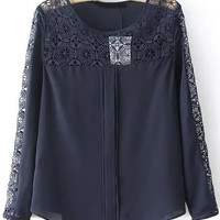 Navy Lace Long Sleeve Blouse