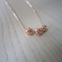 Rose gold necklace, gold plated necklace, three silver mini ball, little fresh clavicle chain, best gift,