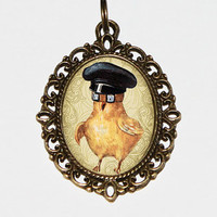 Goggles Chick Necklace, Baby Chick, Steampunk Bird, Easter Necklace, Oval Pendant