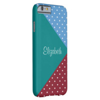 Monogram Teal, Red, Blue Polka Dots Color Block Barely There iPhone 6 Case