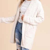 open front cozy fuzzy knit cardigan with pockets - cream