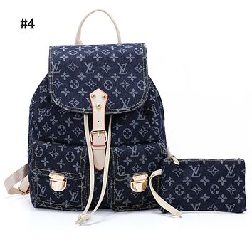 LV hot men and women jeans printed backpack shoulder bag #4