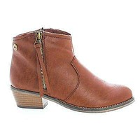 Dorado11 By Breckelle's, Western Cowgirl Tassel Zip Up Faux Wooden Heel Ankle Boots