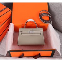 HERMES WOMEN'S LEATHER MINI KELLY HANDBAG INCLINED SHOULDER BAG