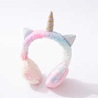 Fashion Color Plush Warm Mobile Phone Music Earphones Children's Cute Cartoon Unicorn Headphone Headset