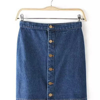 Denim Buttoned Mini Skirt