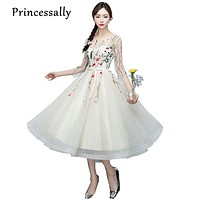 Princessally New Evening Dress Tea-length Champagne Lace Embroidery Tulle 3/4 Sleeves Party Gown Banquet Elegant Formal Dresses