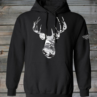 Women's Country Girl ® Deer Head Grey Camo Pullover Hoodie