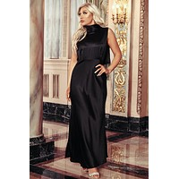 Lavish Lifestyle Satin Sleeveless Dress (Black)