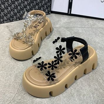 New style sandals film heightened flower shoes