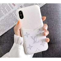 LV 2019 new iPhone xs max leather case card phone case white