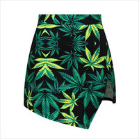 Green Leaves Print Asymmetrical Skirt