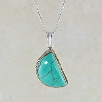 Half Moon Turquoise Pendant Necklace in Sterling Silver
