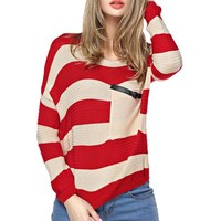 TopStyliShop Women's Stripes Pattern Round Neck Red Sweater with Front Pocket S1030