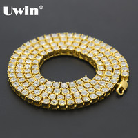 2017 Men's Hip Hop Bling Bling Iced Out Tennis Chain 1 Row Necklaces Luxury Brand Gold Men Chain