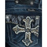 Miss Me Women's Dark Wash Maltese Cross Open Pocket Signature Bootcut Jean