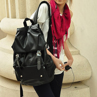 New Women Men Fashion Stylish Faux Leather Casual School Bag Travelling Backpack