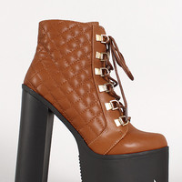 Quilted Lace Up Platform Bootie