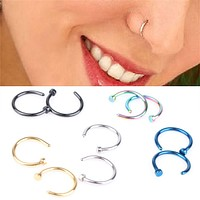 Tiny Gold Silver or Black Fake Nose Ring No Piercing Needed