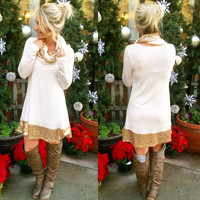 LIGHT UP THE NIGHT SEQUIN TUNIC IN WHITE