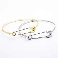 Safety pin bangle bracelet