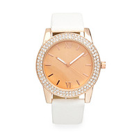 FOREVER 21 Show Off Rhinestone Watch White/Light Rose One
