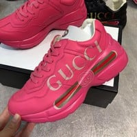 GUCCI Vintage Fashion Women Casual Canvas Sneakers Sport Shoes Grey white brown top quality pink