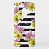Lily Flowers Black and White Striped Pattern Case-Mate Samsung Galaxy S9 Case