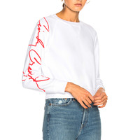RE/DONE Cindy Crawford Classic Sweatshirt in Optic White | FWRD