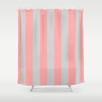 Stripe Vertical Gray Coral Pink Shower Curtain by BeautifulHomes | Society6