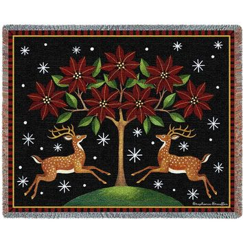 DEER POINTSETTA CHRISTMAS AFGHAN THROW BLANKET