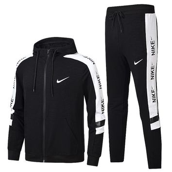 NIKE Fashion Casual Hooded Cardigan Jacket Coat Pants Trousers Set Two-Piece