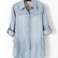 Light Blue Denim Shirt Collar Long Sleeve Pearl Button Blouse
