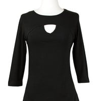 Cordial Keyhole Top in Black