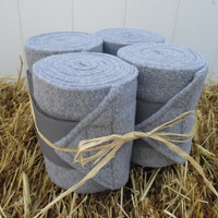 Set of 4 Polo Wraps for Horses- Heathered Grey with Grey Velcro Closure