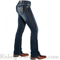 Grace in LA Peacock Feather Bootcut Riding Jeans- DEAL!