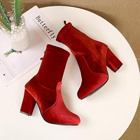 Winter new large size pointed thick with high heel Martin boots children's elastic boots Red