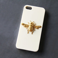 Bee iPhone 5s Case Bee iPhone 4 Cream Insect iPhone Case Beige Galaxy S3 Case Galaxy S4 Case Gold Animal Cell Phone Case Gold Bee Cover