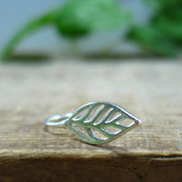 Hoop Earrings Sterling Silver Leaf