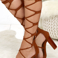 Curtain Call Chestnut Tall Suede Lace-Up Heels