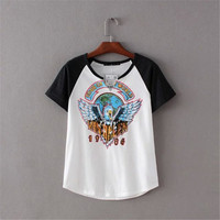 Women's Trending Popular Fashion Summer Beach Holiday Cotton Floral Printed Mixed Color Alphabets Words T-Shirt _ 4232