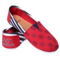 St Louis Cardinals Official MLB Womens Stripe Canvas Slip-on Shoes