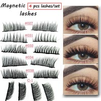4Pairs/Set Magnetic Eyelashes Extension Eye Makeup Accessories 3D Mink Lashes Soft Hair Double Magnet False Eyelashes Dropship
