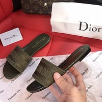 Dior CD New Embroidered Slippers Fashion Ladies Casual Sandals